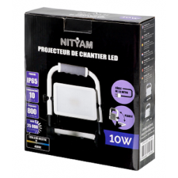 Projecteur 10W LED de chantier 4000K étanche IP65