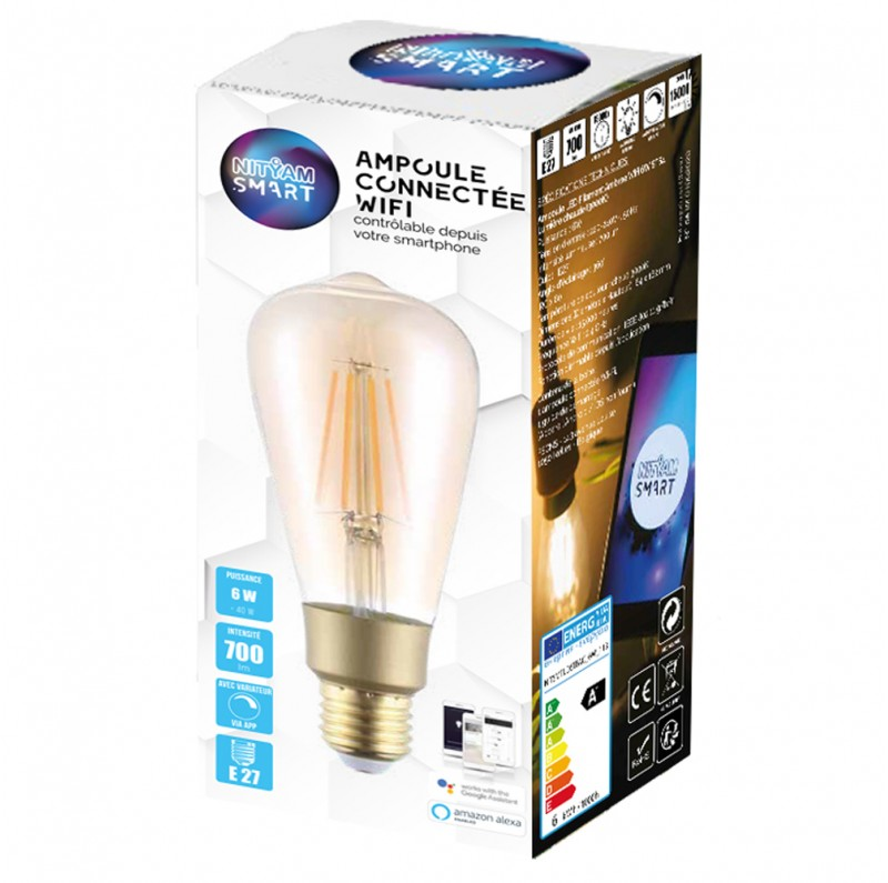 Smart LED bulb Filament 6W ST64 - Warm White (2700K)
