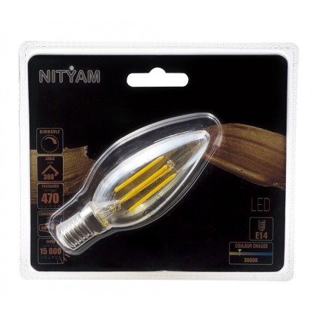 Ampoule LED filament AMBREE Flamme Culot E14