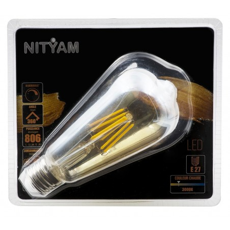 Ampoule LED filament AMBREE ST64 Culot E27