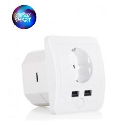 Prise électrique murale connectée avec 2 ports USB - Compatible Amazon Alexa & Google Home